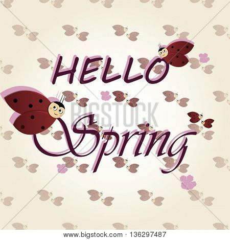 Hello spring background with ladybugs. Vector illustration