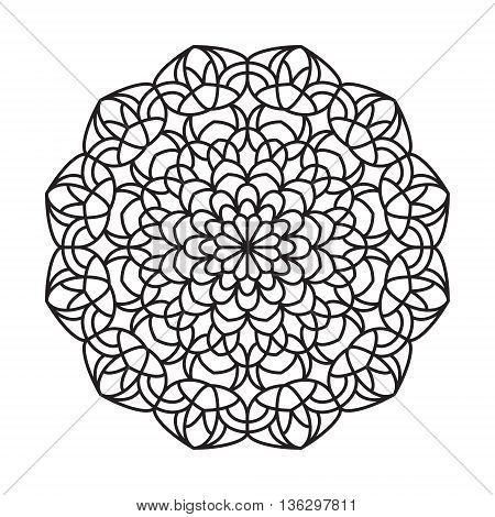 Line mandala isolated on white background for anti stress coloring books, cards, stamps, web design and more.