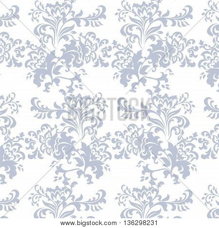 Vector Baroque floral damask ornament pattern element. Elegant luxury texture for textile fabrics or backgrounds. Serenity color