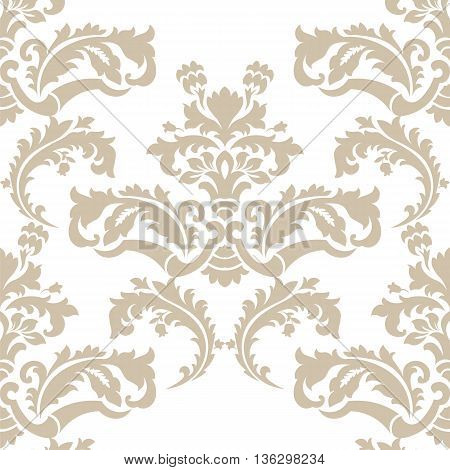 Vector floral damask pattern background. Royal Victorian texture. Classical luxury vintage damask ornament for textile fabric wrapping. Delicate floral baroque template. Beige color