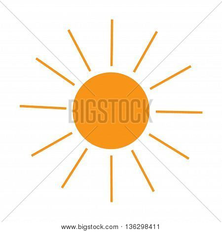 The sun sign on white background. Orange solar symbol. Sticker isolated summer .Symbol sunlight. Flat vector image. Vector illustration.