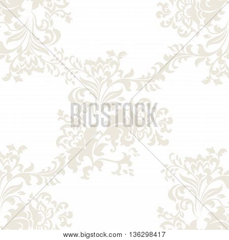 Vector floral baroque ornament pattern element. Elegant luxury texture for textile fabrics or backgrounds. Beige color