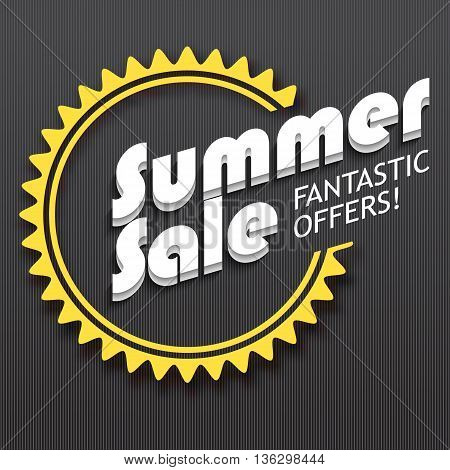 Summer sale advertisement, fantastic offers. Colorful expressive, attention-drawing banner on darck background. Vector editable symbol, easy to change size