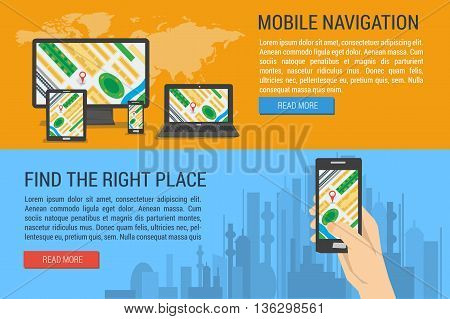 Vector two horizontal banners mobile navigation. Find the right place using gps navigation. Hand holds smartphone with city map gps navigator on city background. Flat style. Web infographics