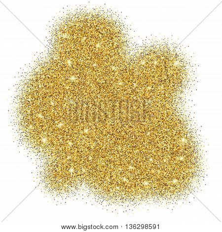 Gold glitter bright vector background. Golden sparkles, shiny texture, . Excellent for your greeting cards, luxury invitation, advertising, certificate