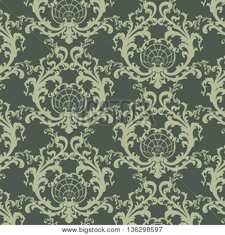 Vector floral damask baroque ornament pattern element. Elegant luxury texture for textile fabrics or wallpapers backgrounds. Green color
