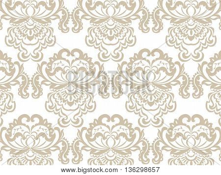 Vector floral damask baroque ornament pattern element. Elegant luxury texture for textile fabrics or wallpapers backgrounds. Beige color
