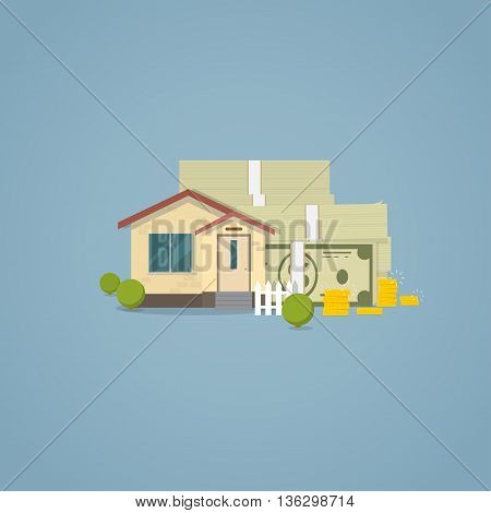 Flat classical house with white fence and bushes with pile of cash and stack of golden coins behind house. Vector concept illustration real estate and house loan and home sales.