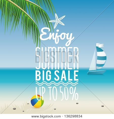 Abstract summer sale label on a special background
