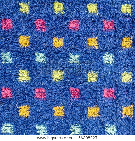 Closeup surface fabric pattern at the old mat with colorful dot texture background
