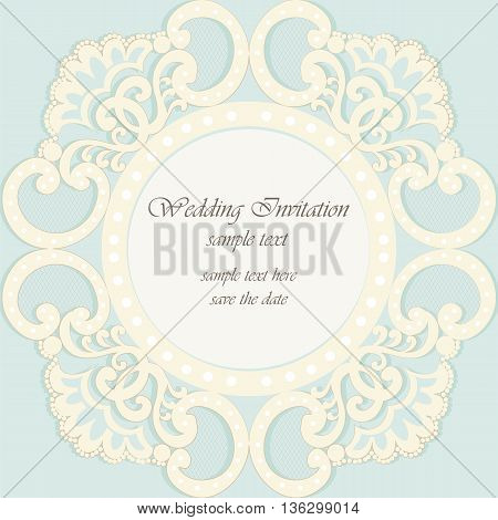 Vector invitation card ornamental lace with damask elements. Elegant lacy feather decoration greeting card wedding invitation or announcement template. Cream and opal blue. Vector