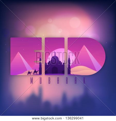 Creative Text Eid with view of Mosque in desert, Beautiful Greeting Card design, Shiny Islamic Background, Concept for Muslim Community Holy Festival celebration.