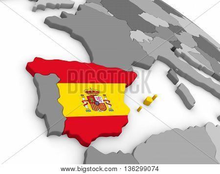 Spain On Globe With Flag