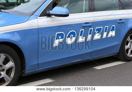 Italian Police Car With Big Written Polizia