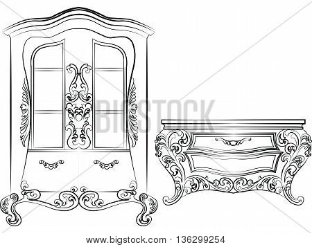 Glass case and commode table. Elegant furniture with drawers rich ornamented. Baroque Luxury style furniture. Vector