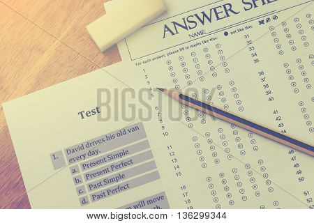 top view english exerciser and answer sheet represent testing english grammar