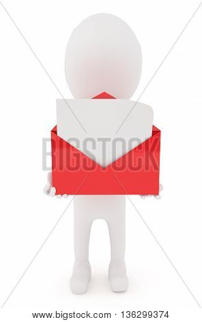 3D Character Holding A Open Envelope With Blank Letter Inside It Concept