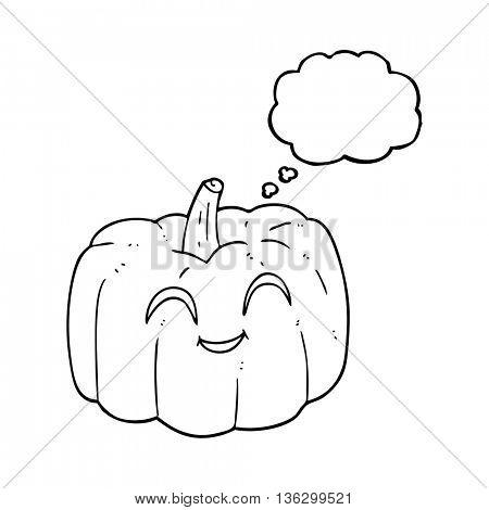 freehand drawn thought bubble cartoon halloween pumpkin