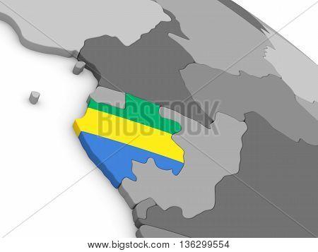 Gabon On Globe With Flag