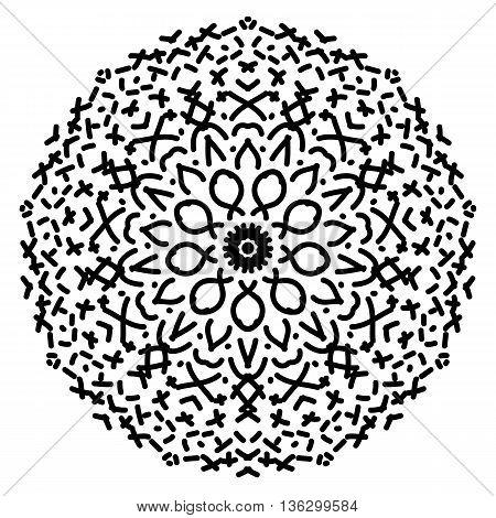 Abstract isolated black mandala ornament. Vector illustration