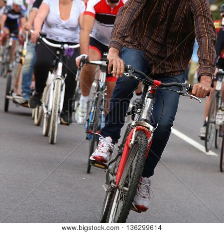 Cyclists Use The Bike Into Town To Get Around Without Polluting