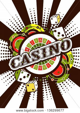 vector background beams casino with the attributes and signs of winning and luck