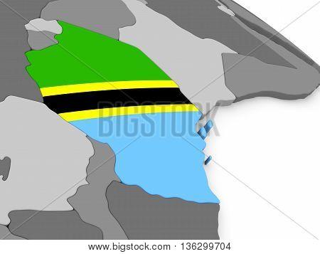 Tanzania On Globe With Flag