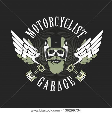vector emblem retro motorcyclist old skull in a motorcycle helmet on a gray black white