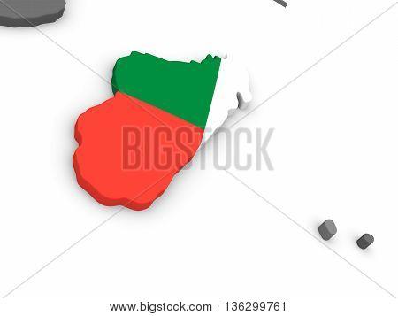 Madagascar On Globe With Flag