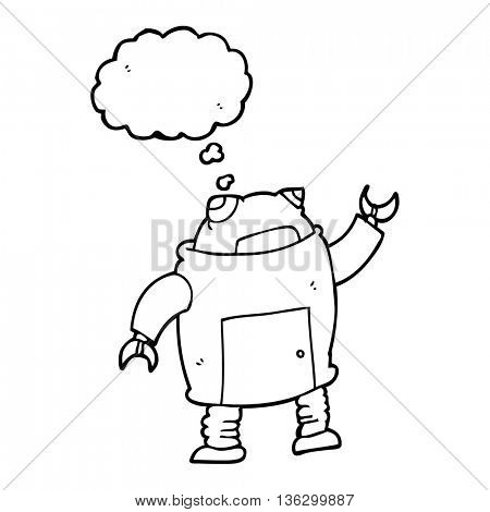 freehand drawn thought bubble cartoon robot
