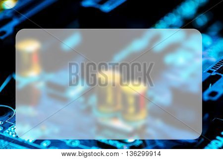 The concept of microelectronics. Detail of printed circuit board, Banner Blank Board Message Copy-space Concept
