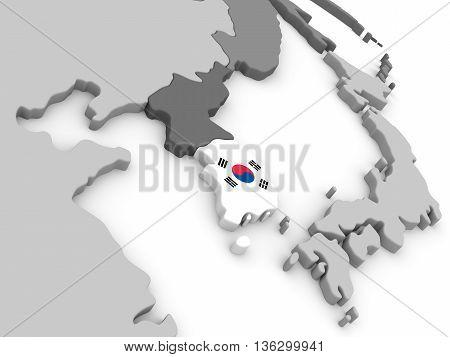 South Korea On Globe With Flag