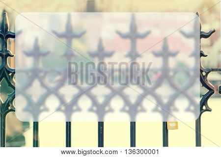 Openwork forged metal fence, Prague. Toned image, Banner Blank Board Message Copy-space Concept