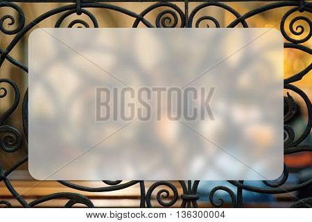 openwork art forged, Banner Blank Board Message Copy-space Concept