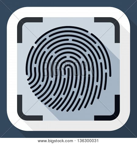Vector Fingerprint Scanning Icon. Fingerprint Scanning Simple Icon In Flat Style With Long Shadow