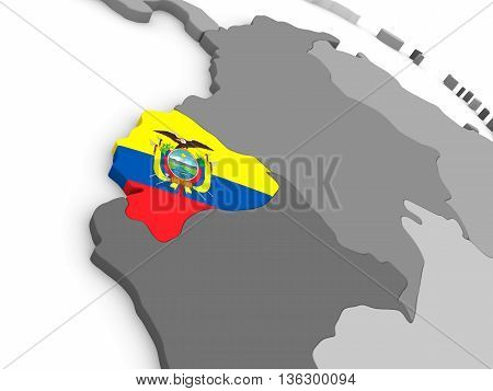 Ecuador On Globe With Flag
