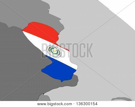 Paraguay On Globe With Flag