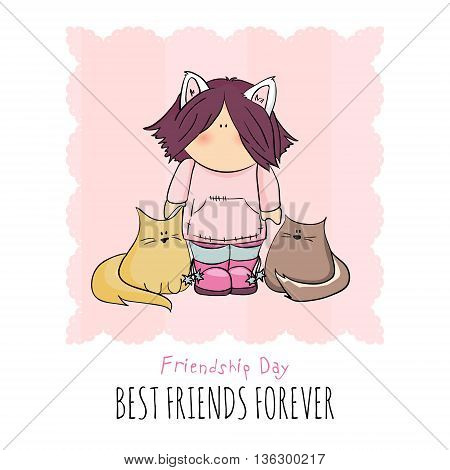 cute girl with cats doodle illustration. friendship day. pink background. congratulation card