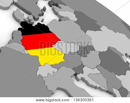 Germany On Globe With Flag