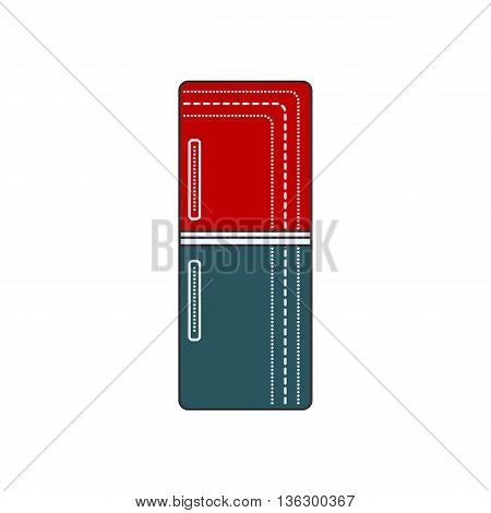 Refrigerator Closed. Refrigerator red and blue icon. Cold door illustration isolated. Retro fridge.