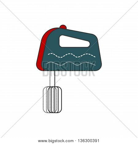 Kitchen hand mixer icon. Modern and simple isolated Flat design. Vector illustration. Line and filled icon.