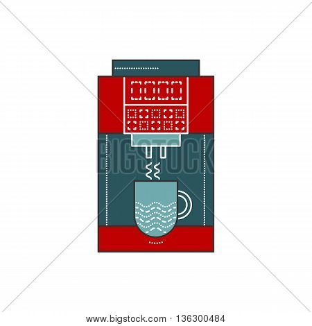 Coffee machine vector illustration in flat style. Coffee marker office with cups. Coffee machine isolated icon on white background. Red and blue machine