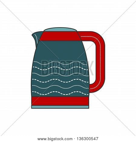 Electric kettle vector illustration in flat style. Electric teapot office. Hot kettle isolated icon on white background. Red and blue machine