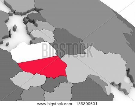 Poland On Globe With Flag