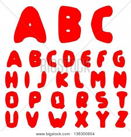 Red Handwritten alphabet. Original font, Vector illustration