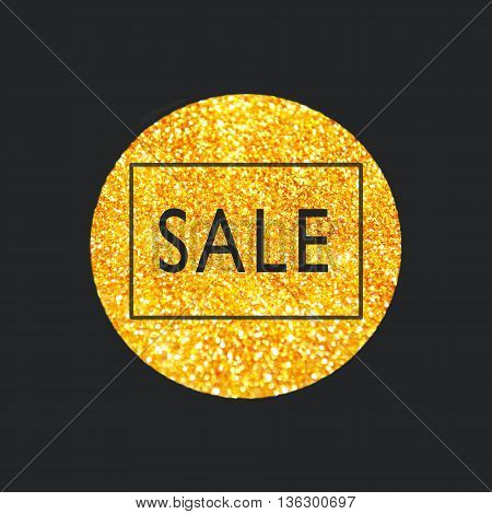 Sale tag on a golden glitter circle on grey background