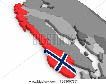 Norway On Globe With Flag
