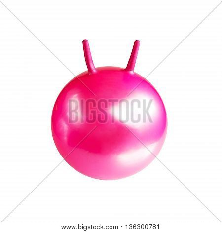 Large pink ball for fitness and gymnastics isolated on white background