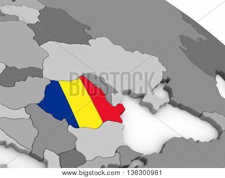 Romania On Globe With Flag