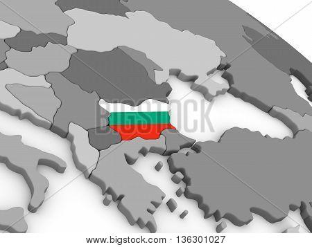 Bulgaria On Globe With Flag